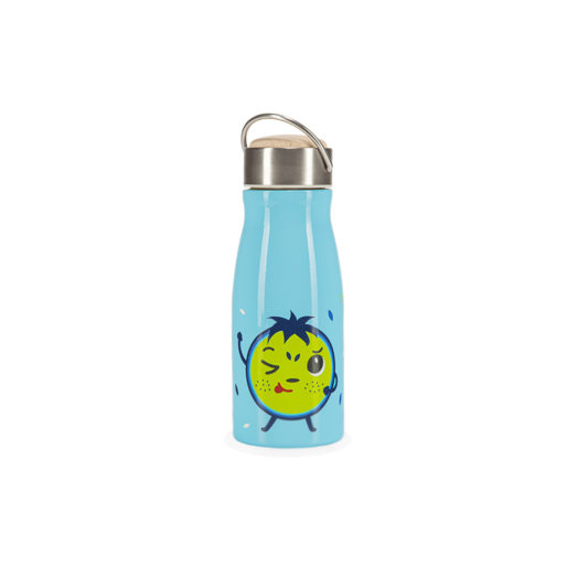 Blue insulated water bottle for kids HELLO BILL! front view
