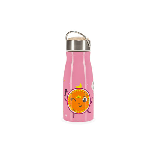 Pink insulated water bottle for kids HELLO PENELOPE! front view